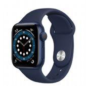 Apple Watch Seri 6 44mm Mavi Alüminyum Kasa ve Koyu Lacivert Spor Kordon M00J3TU/A-Kopya